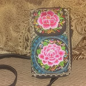 Embroidered Crossbody Wallet